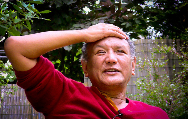Orgyen Tobgyal Rinpoche is known for his mastery of Vajrayana and his inimitable style of oration. Photographed taken on a HV20 video camera during an interview in Paris, France